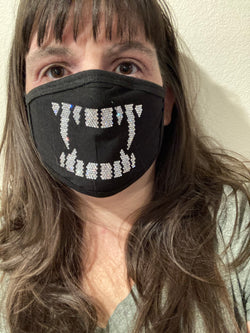 Vampire Teeth Bling Face Mask