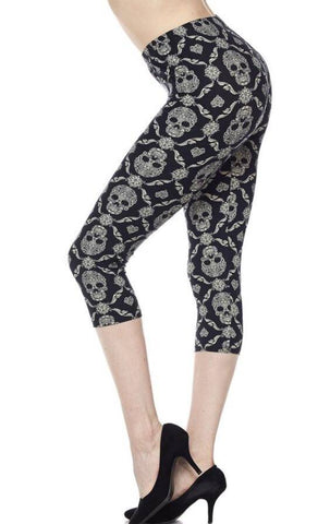 Black Skull Capri Leggings