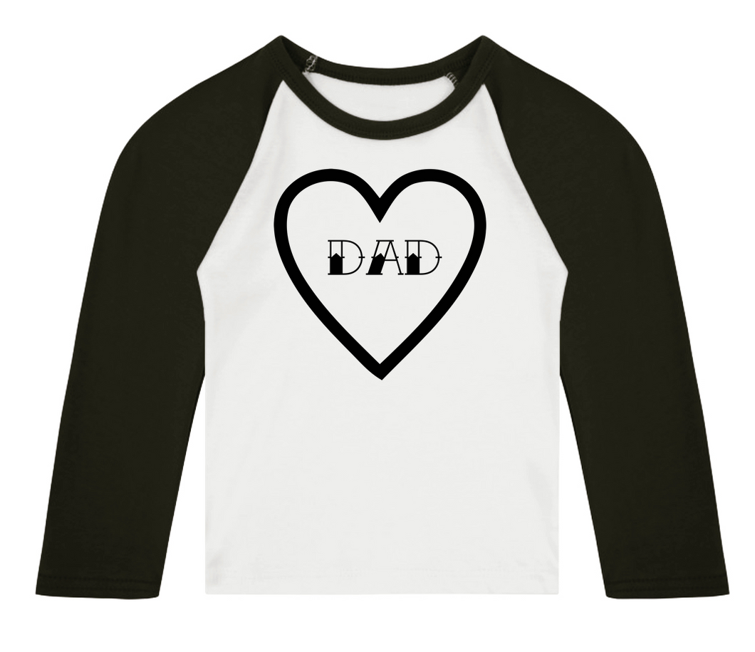 Dad Heart 3/4 length sleeve Raglan T-Shirt
