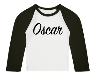 Personalised Name 3/4 length sleeve Raglan T-Shirt