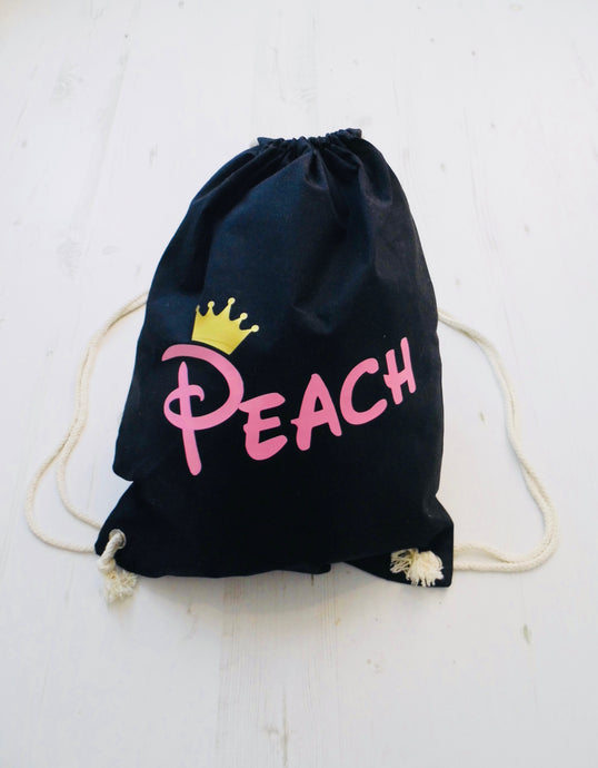 Personalised Name with Crown Drawstring Bag
