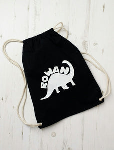 Personalised Name Dinosaur Drawstring Bag
