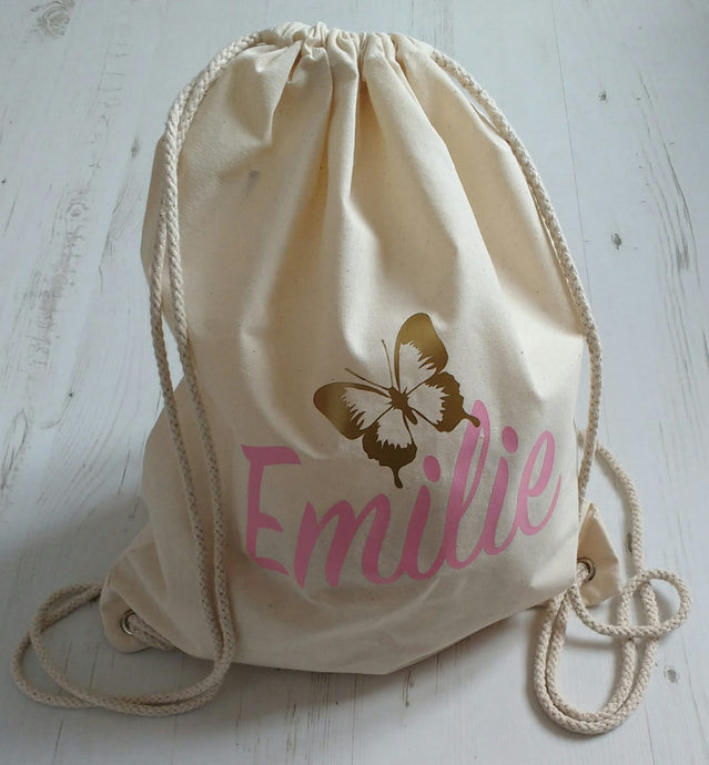 Personalised Name w/ Butterfly Drawstring Bag