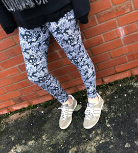 Monochrome Sugar Skulls - Adult Leggings