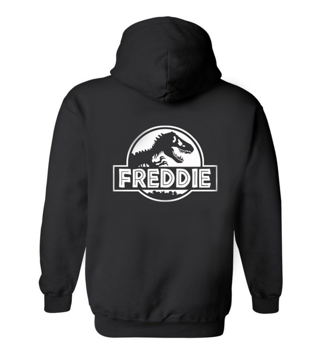 Jurassic Name Zip Up Hoodie (printed on back)