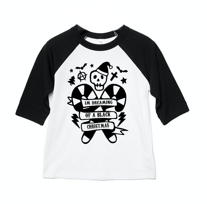 I'm Dreaming Of A Black Christmas 3/4 length sleeve Raglan