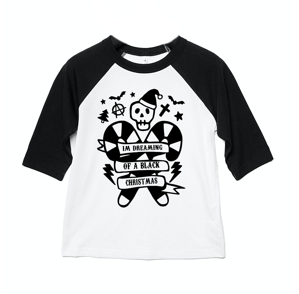 I'm Dreaming Of A Black Christmas 3/4 length sleeve Raglan T-Shirt