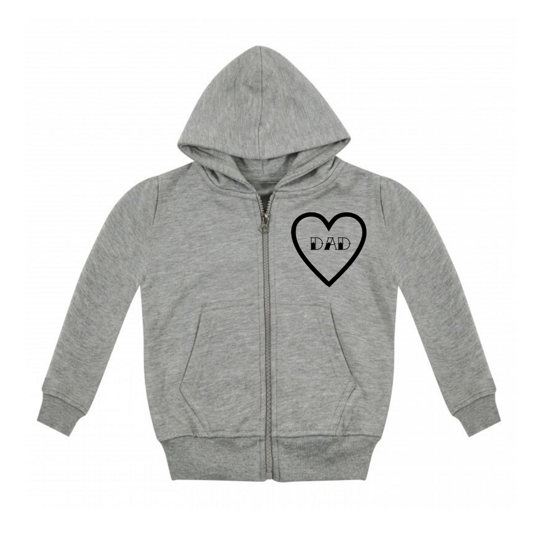 Dad Heart Zip Up Hoodie