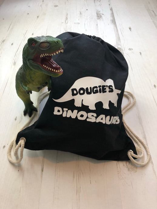 Personalised Dinosaurs Drawstring Bag