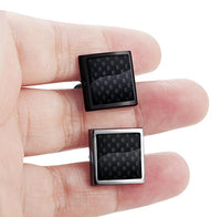 Jstyle Carbon Fiber Cufflinks for Men Shirt Unique Business Wedding 2 Pairs