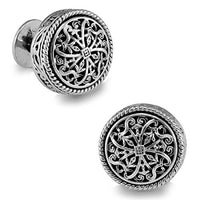 Silver Clover Men's Vintage Handcrafted Platinum-plated Silver Round Shape Cufflinks, Gift Box Included