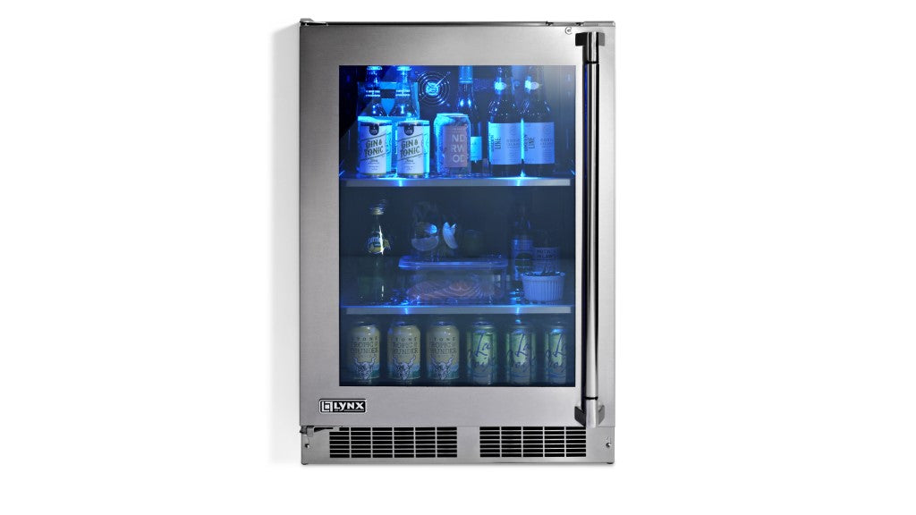 "Lynx 24"" Outdoor Glass Door Refrigerator, Left Hinge *New for 2019*"
