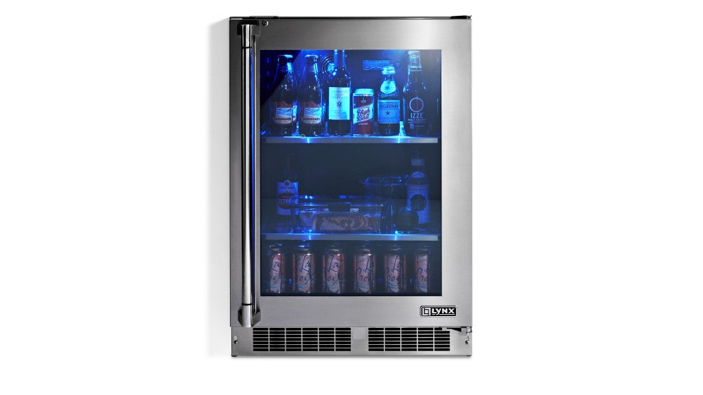 "Lynx 24"" Outdoor Glass Door Refrigerator, Right Hinge *New for 2019*"