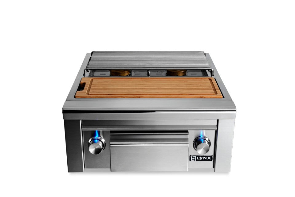 Double, side by side burners, maple cutting board & drawer, LP GAS