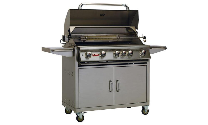 "The Brahma Cart is a 38"" 5-Burner stainless steel gas barbecue with an infrared back burner."