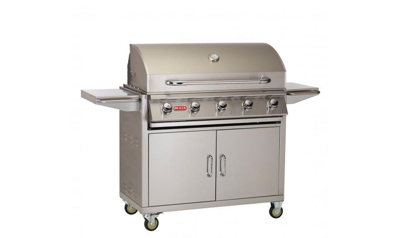 "The 38"" Renegade Grill is a 5 burner 75,000 BTU stainless steel Grill Cart. This cart has plenty of room for grilling and plenty of storage under the grill for your propane tank and tools."