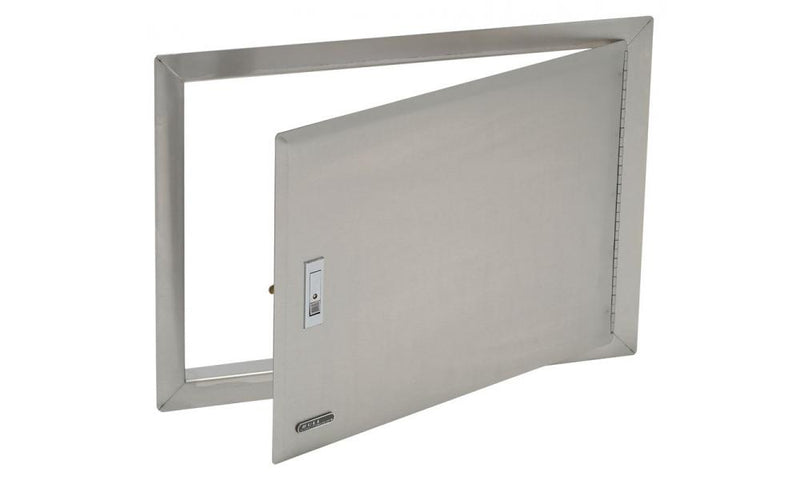 The Access Door has a lock and stainless steel frame for propane tanks or gas lines.