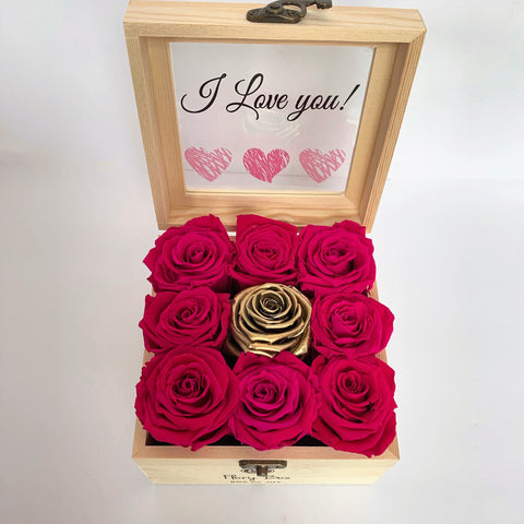 Boxes of Pink and Gold Preserved Roses with Personalized Message in Toronto and Canada
