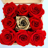 Boxes of Red and Gold Preserved Roses with Personalized Message in Toronto and Canada