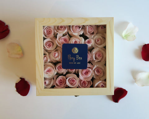 Roses in the  wooden box best gift for Valentine's Day with personalized message