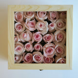 Roses in the box gift for Valentine's Day with personalized message