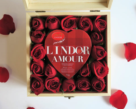 Red Roses with Lindt chocolate best gift for Valentine's Day 2018 with personalized message