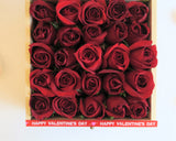 Red Roses in wooden box best gift for Valentine's Day 2018 with personalized message