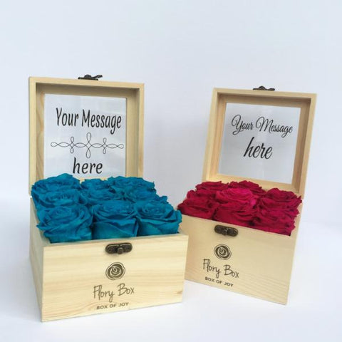 Boxes of Preserved Roses with Personalized Message in Toronto and Canada