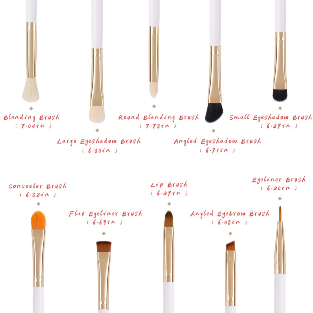 10 Pieces Eye Makeup Brush Set - DB1004 - Beautyboutique.no