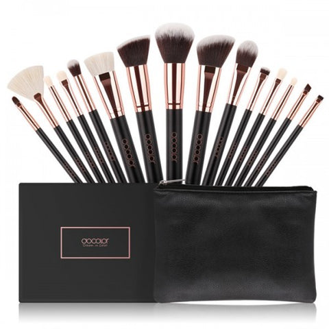 15 Pieces Rose Gold Makeup Brushes Set - DC1501 - Beautyboutique.no