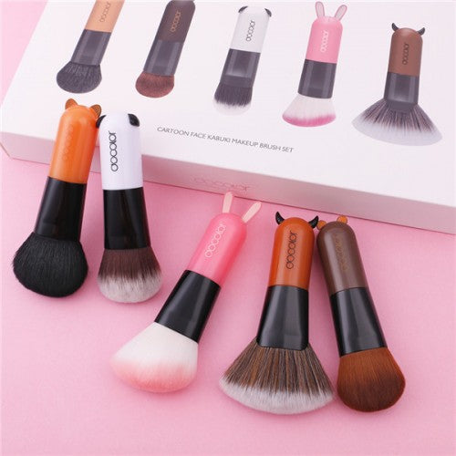 5 Pieces Cartoon Face Kabuki Makeup Brush Set - C0501 - Beautyboutique.no