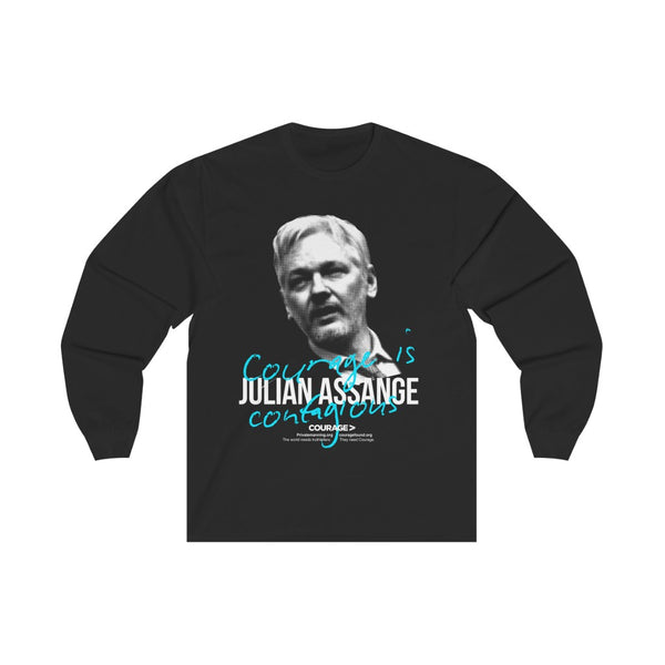 Julian Assange - Courage is Contagious - Unisex Long Sleeve Tee