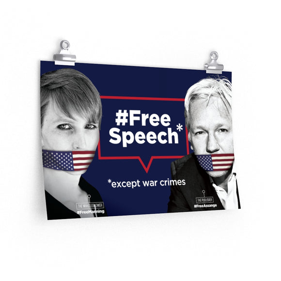 Free Speech - Except War Crimes - Premium Matte horizontal poster