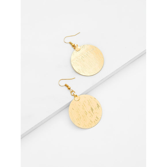 Round Flake Drop Earrings