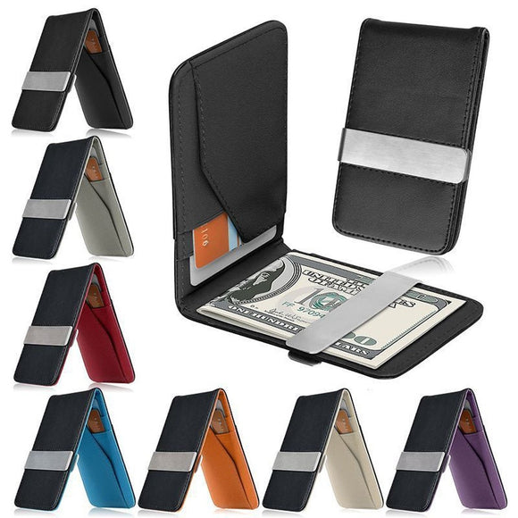 Mens Leather Silver Money Clip Slim Wallet Black ID Credit Card Holder Purse