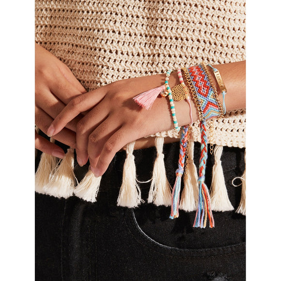 Tassel Charm Woven & Beaded Design Bracelet Set
