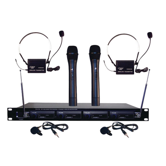 Pyle Pro(R) PDWM4300 4-Microphone VHF Wireless Rack-Mount Microphone System