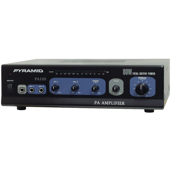Pyramid(R) Car Audio PA105 Amp with Microphone Input (80 Watt)