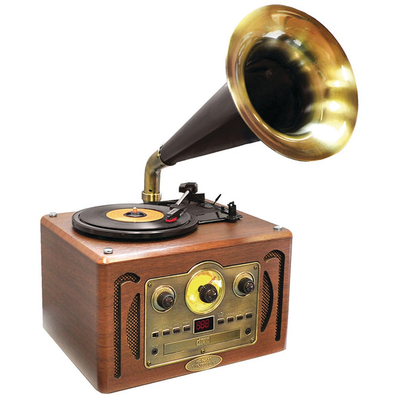 Pyle Home(R) PVNP30BT Retro-Style Bluetooth(R) Turntable Phonograph with Horn, AM/FM Radio & CD Player