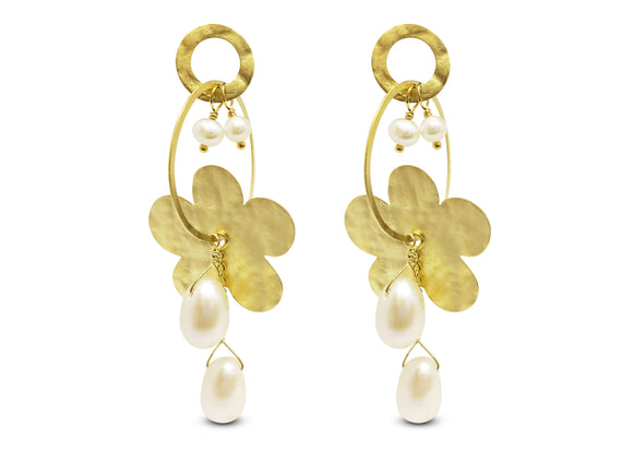 Golden Hammered Flowers & Pearls Earrings