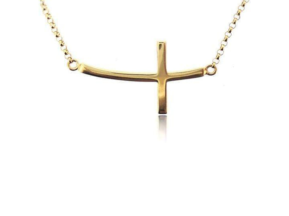 SIDEWAYS CROSS VERMEIL YELLOW GOLD NECKLACE