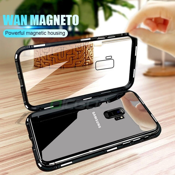 Magnetic Metal Phone Case Magnet Cases Bumper Clear Glass Cover for Samsung Note 9 Note 8 S9 S9 Plus S8 S8 Plus