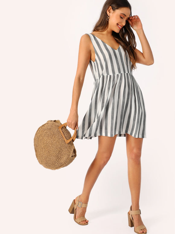 Double V-neckline Two Tone Dress