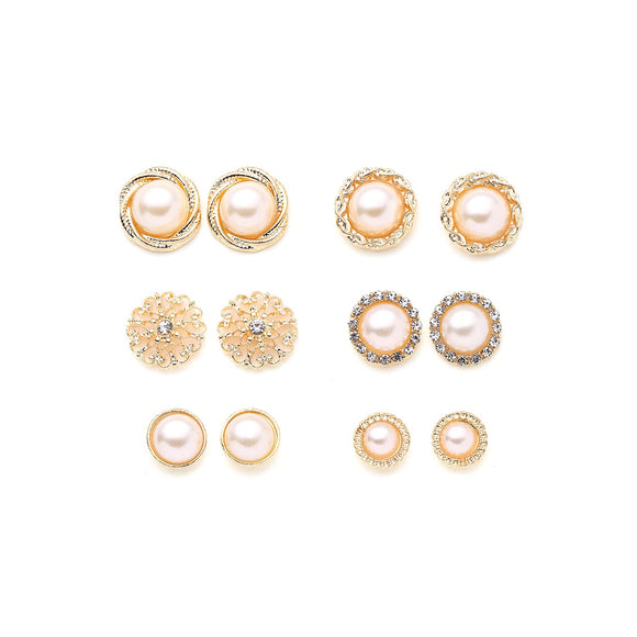 Faux Pearl And Rhinestone Design Stud Earring Set