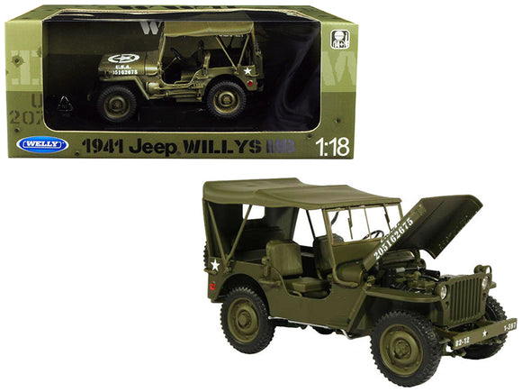 1941 Jeep Willys MB with Soft Top Green WWII U.S. Army 1-18 Diecast Model Car by Welly