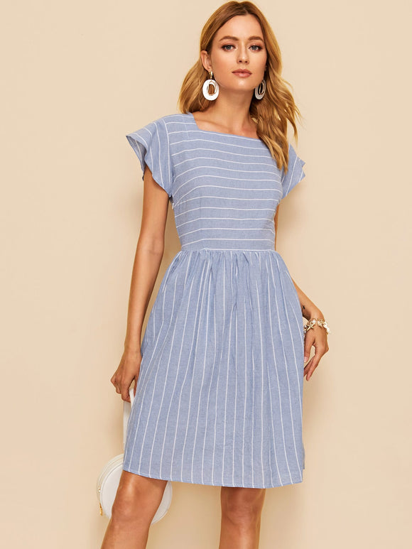 Striped Square Neck Fit & Flare Dress