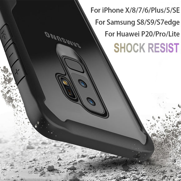 Bumper Shockproof Hybrid HD Transparent Case Cover For iPhone X 8 7 6 Plus 5 5S SE / For Samsung Galaxy S7Edge S8 S9 A8 Plus Not