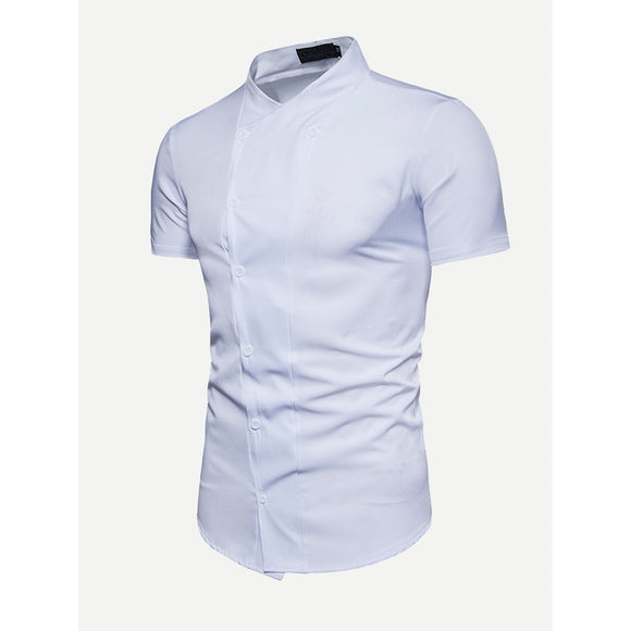 Men Double Button Plain Blouse