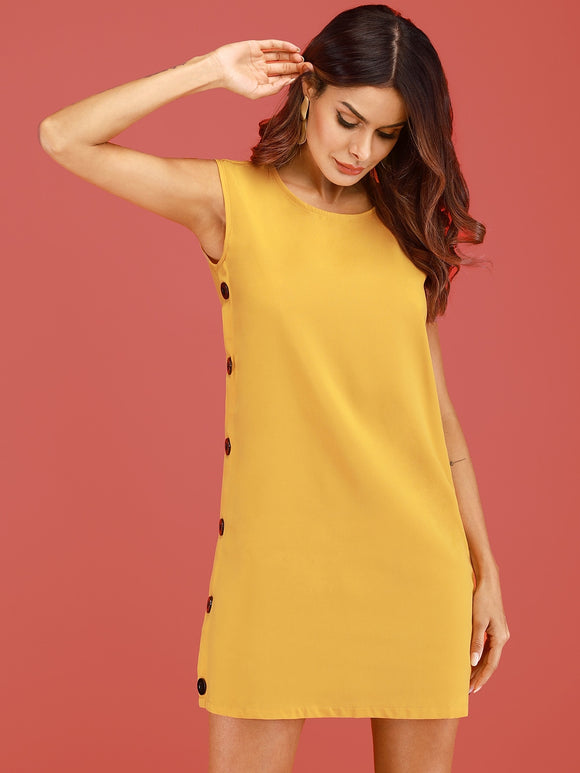 Button Side Solid Dress