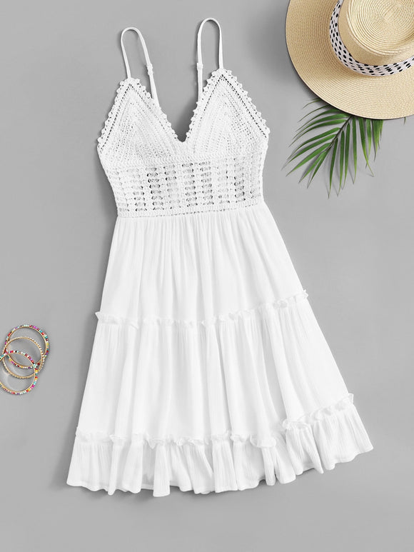 Tie Back Frilled Trim Crochet Slip Dress